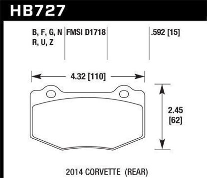 Picture of Hawk C7 Rear HPS 5.0 Brake Pads